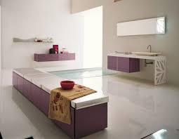 purple bathroom spa have towel on top in front bathroom storage
