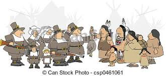 this illustration depicts american indians and pilgrims clipart