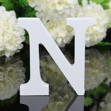 cheap white 3d thick wooden letter n 8cm tall for sale