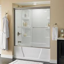 How To Install A Shower Door On A Bathtub Delta Crestfield 60 In X 58 1 8 In Semi Frameless Sliding