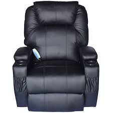 homcom luxury leather recliner sofa chair armchair cinema massage