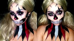 Halloween Skull Face Makeup by Glitter Clown Skull Halloween Makeup Sfx Paint Youtube