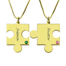 puzzle necklace images Matching puzzle necklace for couple with name birthstone gold plate jpg