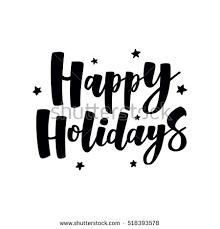 happy holidays handlettering text handmade vector stock vector