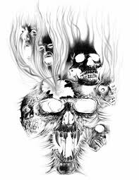 beautiful burning evil skulls sketch for tattoo design tattoomagz
