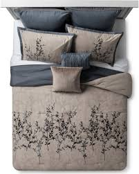 Taupe Comforter Sets Queen Amazing Deal Blue U0026 Taupe Embroidered Hexton Comforter Set Queen