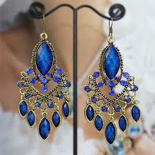 blue chandelier earrings sapphire blue antique gold charm chandelier earring jewelry cas