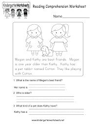 free printable kindergarten reading comprehensionsheets for 2nd and