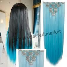 blue hair extensions 26 66cm 170g 8pcs set clip in hair