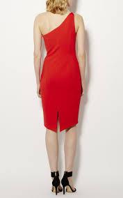 karen millen one shoulder pencil dress red db059