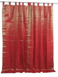 Curtain Drapes Amazon Com 2 Red Gold India Curtains Brocade Silk Sari Drapes