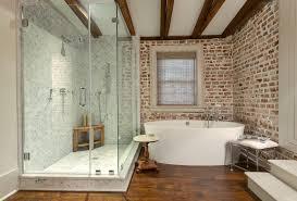 Rustic Tile Bathroom - charleston brick wall tile bathroom rustic with wood side table