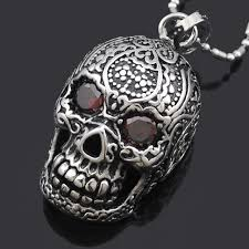 silver skull pendant necklace images Atgo punk mexican tattoo stainless steel skull pendant necklace jpg