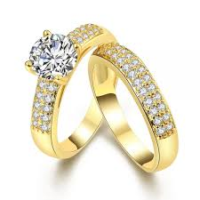crystal jewelry rings images Crystal jewelry promise double rings for couples men women gold jpg