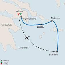 Greek Islands Map Greece Mykonos U0026 Santorini Islands Tour Globus
