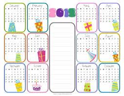 template birthday calendar template