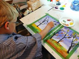 that artist woman fall trees version 2