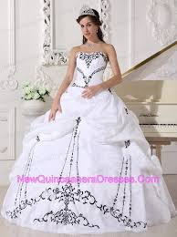 black and white quinceanera dresses white sweetheart quinceanera dress with black embroidery 219 35