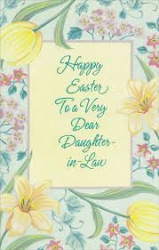 happy easter dear flowers and blue foil lettering in easter card by