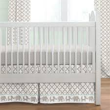 Crib Bed Skirt Measurements Taupe And Mint Elephants Crib Skirt Box Pleat Carousel Designs