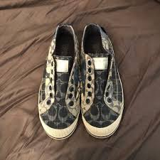 blue patterned shoes 79 off coach shoes blue patterned slip on sneakers 6 12 poshmark