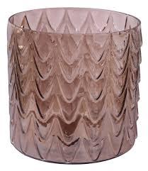 glass flower vase with textured wavy pattern u2013 dull brown
