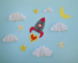 Boy Nursery Wall Decals Rocket Ship 3d Wall Decals Wall Decor Wall Art Boy U0027s