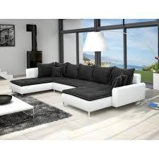 canapé panoramique tissu canapé panoramique dante en tissu noir et simili cuir blanc