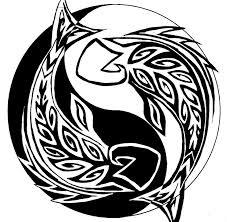 black tribal pisces in yin yang tattoo stencil