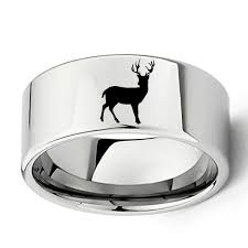 men promise rings 11mm tungsten engraved deer men s promise rings just promise rings
