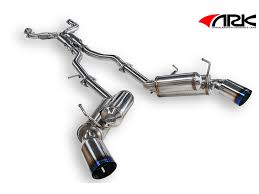 exhaust system ark nissan 350z grip v 2 true dual exhaust system burnt tip z1