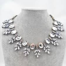 pearl crystal statement necklace images New color shiny choker clear crystal statement necklace women jpg