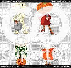 cartoon of halloween kids in mummy jack skeleton and ghost