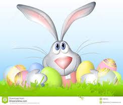 bunnies for easter easter bunny holding eggs stock illustration