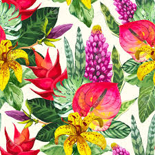 flowers and plants beautiful seamless background with tropical flowers and plants