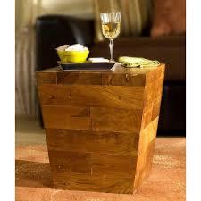 Teakwood Patio Furniture Groovystuff Teak Wood Pyramid Block Side Table Tf 784
