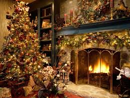 Christmas Decoration Theme - interior terrific ideas using stone tile wall fireplace also dark