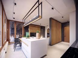 ilot central dans cuisine appartement moderne au design minimaliste et chaleureux à varsovie