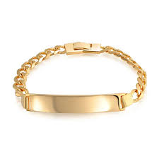 gold name bracelets unisex gold filled curb chain id bracelet 180 8in
