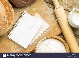 Wooden Kitchen Table Background Menu Background Bakery Ingredients With Blank Recipe Book On