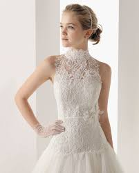 high wedding dress wedding lace wro tulle high neck chapel a line wedding