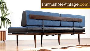 Daybed Sofa Couch Restored Blue And Black Mid Century Daybed Sofa