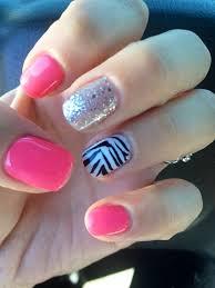 glitter pink shellac gelling cute nails zebra sparkle design