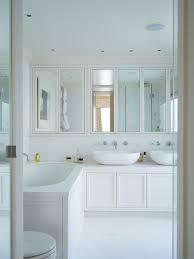 white bathroom mirror cabinet with transitional marble bathroom
