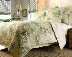 tropical palm tree green cream bedding quilt set king by finely