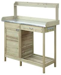 Wooden Potting Benches Natural Fir Wood Potting Bench With Stainless Steel Table Top