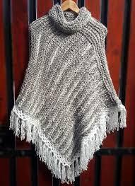 ponchos a palillo poncho gris blanco tejido a palillos poncho dos agujas knit