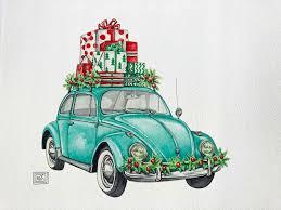 bug volkswagen christmas vw bug art print christmas holiday watercolor