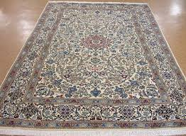 7 x 10 persian nain hand knotted wool ivory blue red new oriental