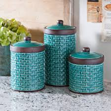 blue woven kitchen canisters set of 3